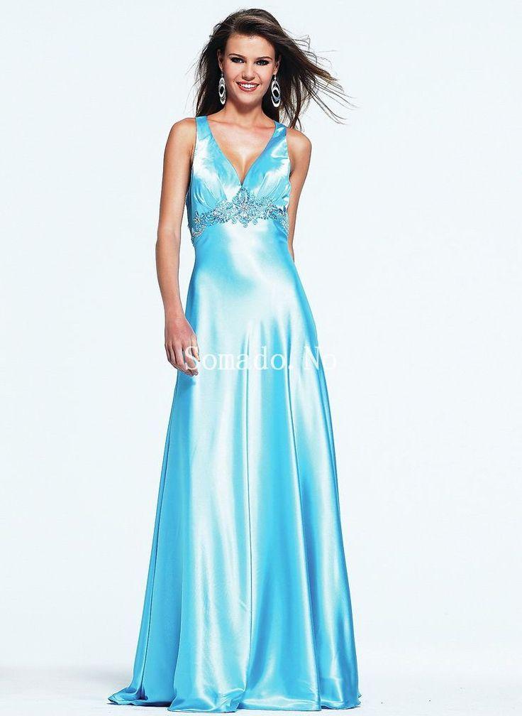 Blå En-linje V-hals Paljetter Gulv Lengde Silk Like Satin Selskapskjoler
