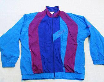 Logo de ADIDAS Trefoil Vintage 90s Top chaqueta Nylon Azul de chándal / vino rojo IBIZA talla L