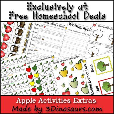 Free Fall Apple Activities Printable Set {Free Instant Download} #homeschool #freehomeschool