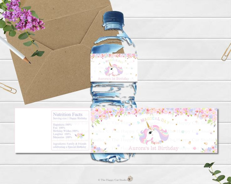 Unicorn Water Bottle Labels, Stickers, 1st Birthday Party, Personalized, Printable, Digital, First, Floral, Watercolor, Rainbow, Pastel Cute by thehappycatstudio on Etsy