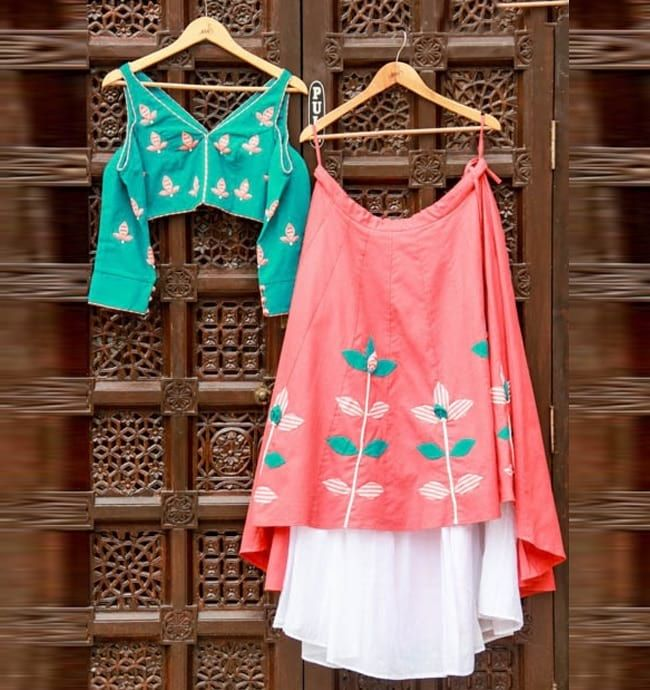 Embroidered Western Styled High-low Lehenga Choli  #Peach  #Embroidered  #High Low  #Green