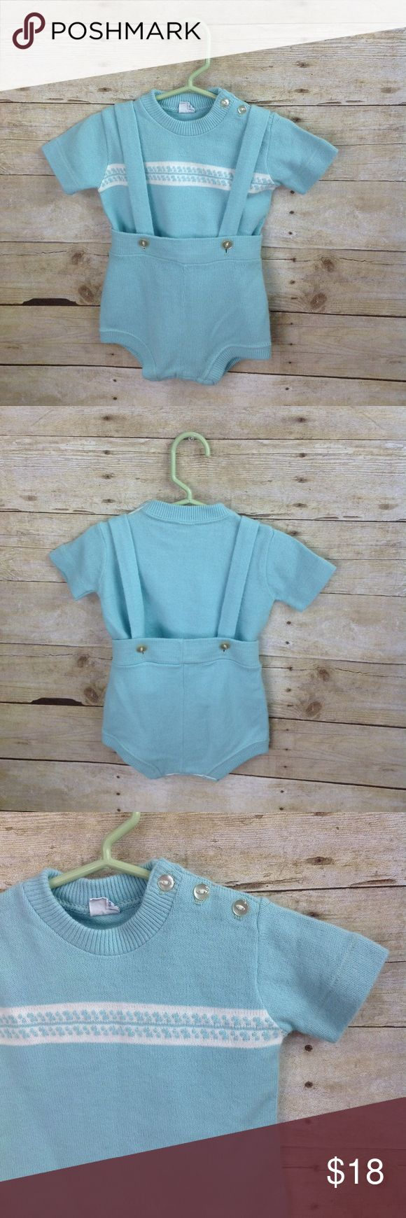 """Vintage Two Piece Turquoise Blue Jumper Boy Unisex Two piece vintage jumper by Creative Knits for Sternberg  Gorgeous turquoise blue top with white accents features a row of buttons across shoulder for easy on /off  Jumper bottoms, also a desirable turquoise knit, feature buttons for removable straps!   Top-Pit to pit =11"""" across. Shoulder to shoulder = 9"""" across. Length =11.5""""  Jumper-Waist measures approximately 9"""" across. Hips measure approximately 11"""" across Length (from waist band to…"""