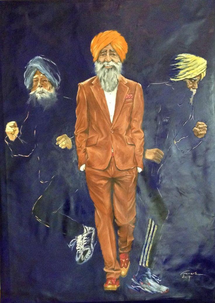 Fauja Singh Marathon Runner, Oil on Canvas