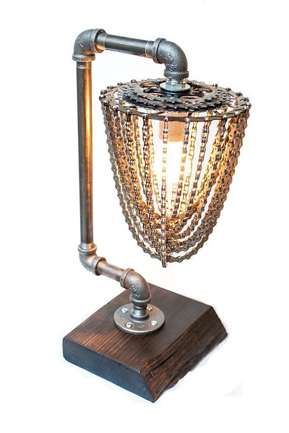 The Apex - Industrial Chic - Reclaimed Bike Chain Lamp on Etsy