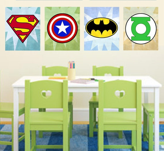 Superhero Logo Wall Art Decor / Boys Room - Superman, Green Lantern, Flash, Batman, Captain America, Spiderman - PRINTS