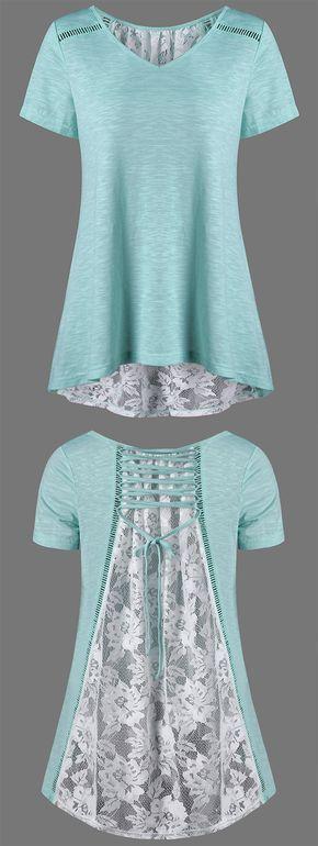 Lace Up Floral High Low Hem T-Shirt