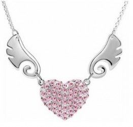 Angel Love Necklace - price includes FREE postage within South Africa  This stunning silver plated pendant is encrusting is gorgeous pink crystals.