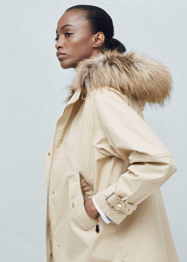 Anorak à capuche fourrure - Manteaux pour Femme | MANGO France