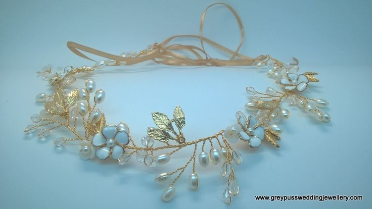 Gold Coloured Pearl & Crystal Bridal Hairvine
