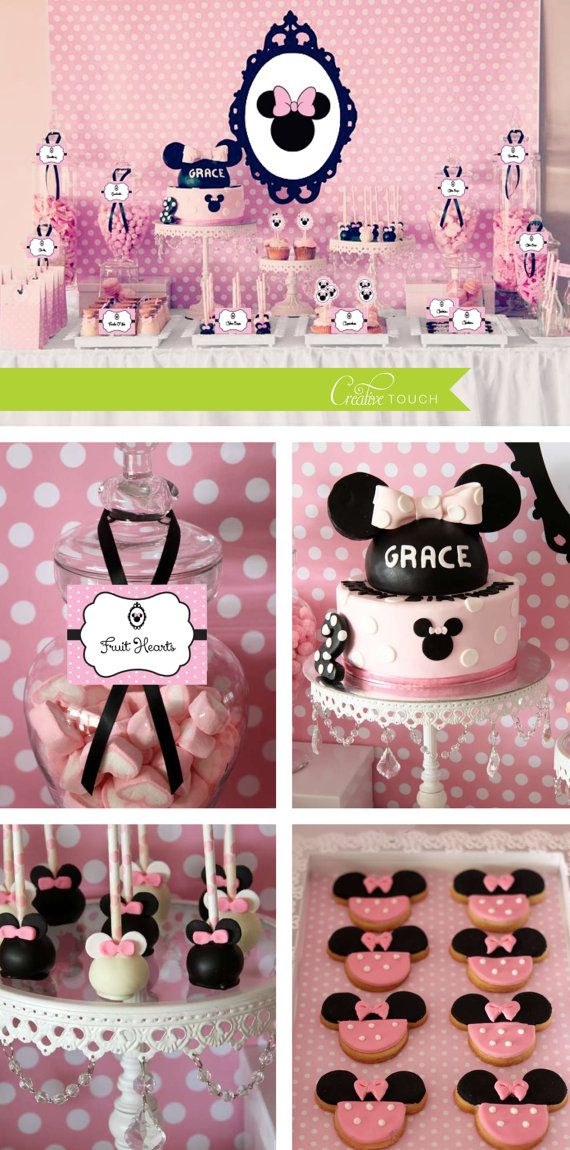 Minnie Mouse Party Package, Black Frame, Minnie, Vintage, Light Pink, Cupcake Toppers, Birthday Banner, Centerpieces, Candy Table, Minnie Mouse Cake, Disney, First Birthday, 1st Birthday #MinnieMouse #Birthday #Invitation #Party #Minnie #HEPTEAM