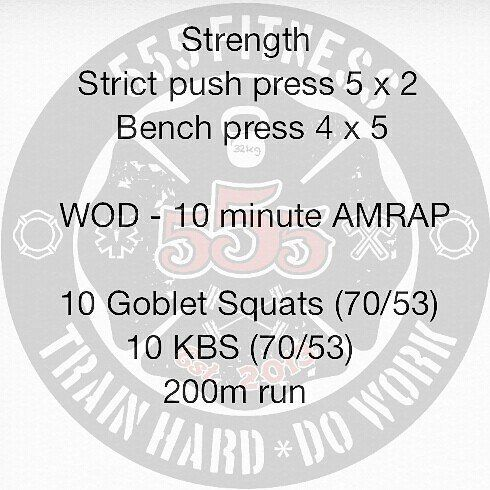 """The OG 24/48 WOD  Week #1 WOD #2  Starting with strict work on the shoulders. Typo says """"strict puah press""""....too lazy to fix it to just say strict shoulder press. Tomorrow will be a rest day so I'll doing a #mobilitywod."""