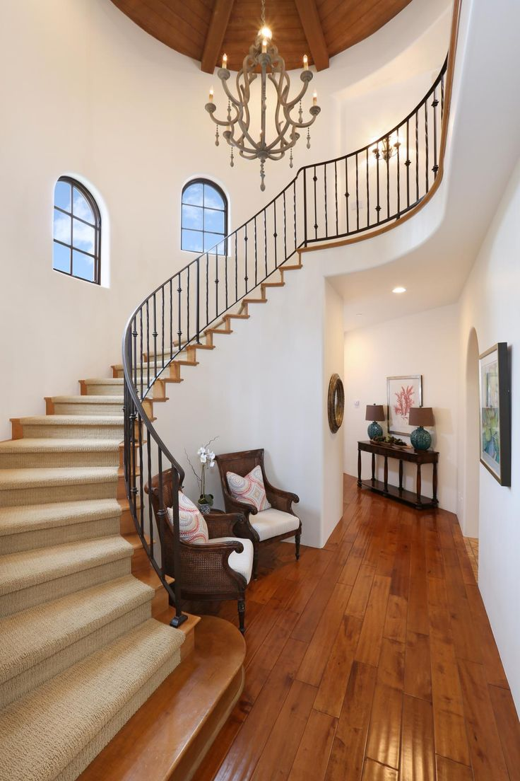 17 best images about staircase on pinterest royalty free for Furniture for curved wall in foyer