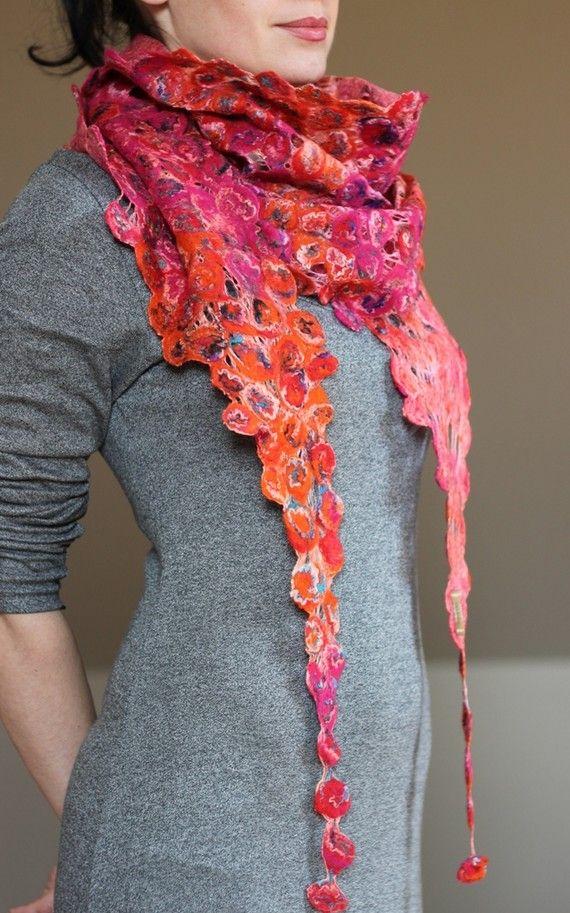 Cobweb felted shawl scarf by aureliaLT $129