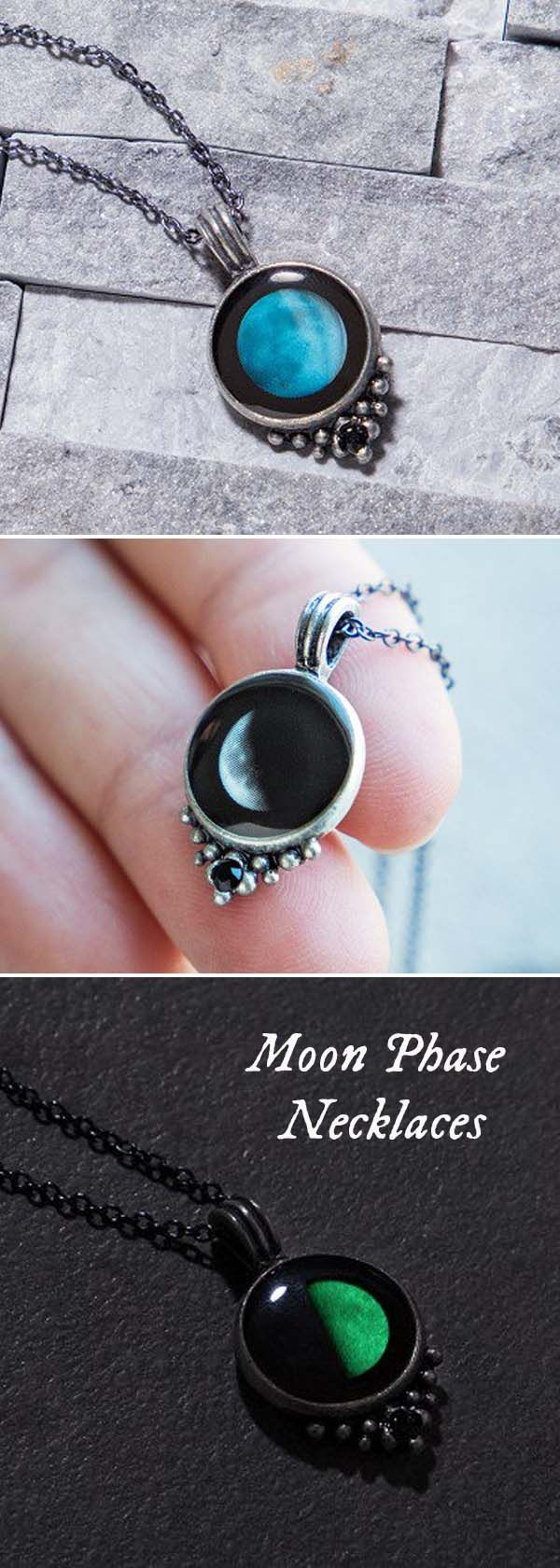 Maybe you believe the moon influences our personalities. Or perhaps you simply like gazing up at this mysterious glowing sphere. Either way, Moonglow's moon phase necklace is a meaningful way to commemorate important dates or events.