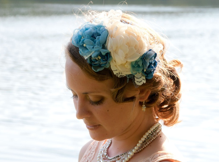 Blue Hydrangeas, Large Floral Hair Fascinator