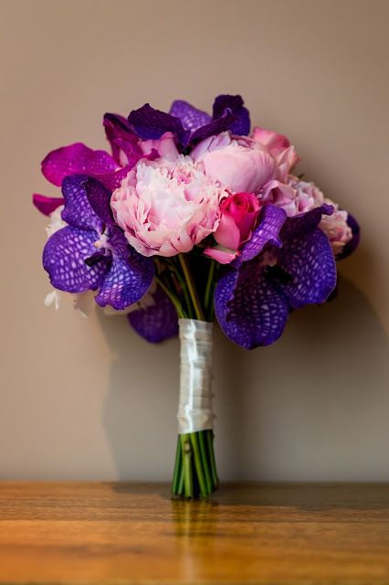 Heather Hartley Flowers: Vanda orchid, Sarah Bernhardt peonies, hand-tied wedding bouquet, pink and purple