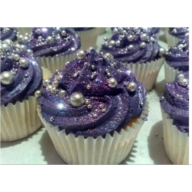 Purple icing with glitter & pearls!