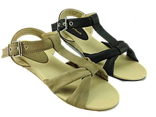 NEW! Ladies T bar Strappy Summer Low Wedge Sandal   £9.99