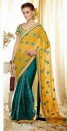 Yellow Color Beautiful Designer Sari With Awesome Embroidery Work