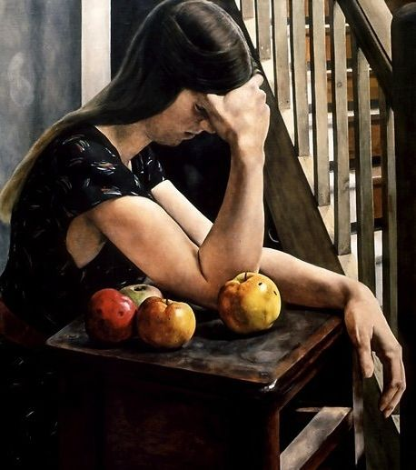 """Michael Taylor (British, born 1952) """"Woman with Apples"""", 1981"""