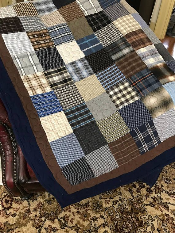 Quilt Twin Size Made To Order In This Quilt I Used Blue Gray Brown And Black Mens Plaid Shirts The First Border Is D Dad Shirt Quilt Blue Quilts Shirt Quilt