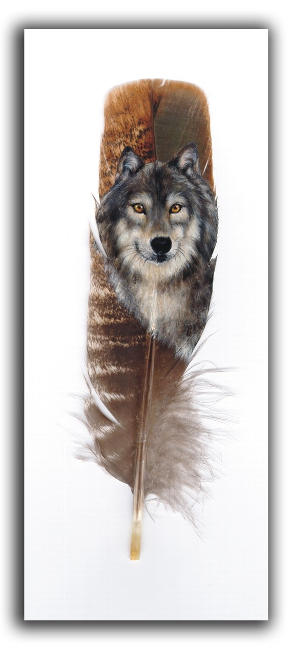 Wolf 5 Native American Inspired Feather painting print by 2ndMoon, $20.00