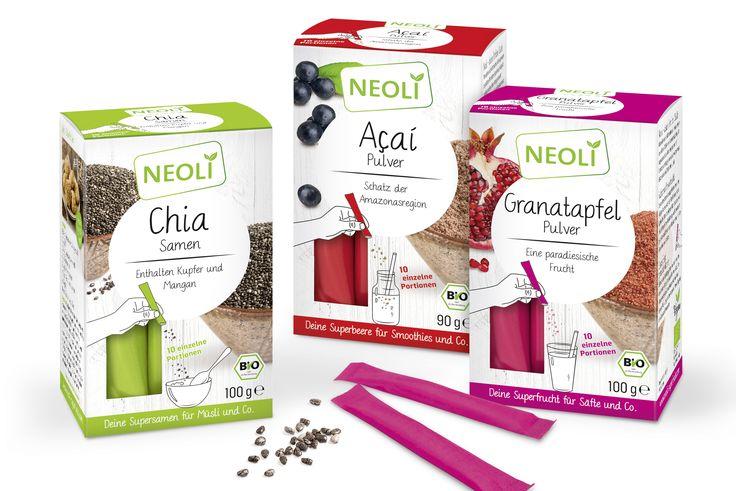NEOLI Superfood. Konzeption und Packaging Design von adworx aus Bielefeld. 11 Starke Sorten.