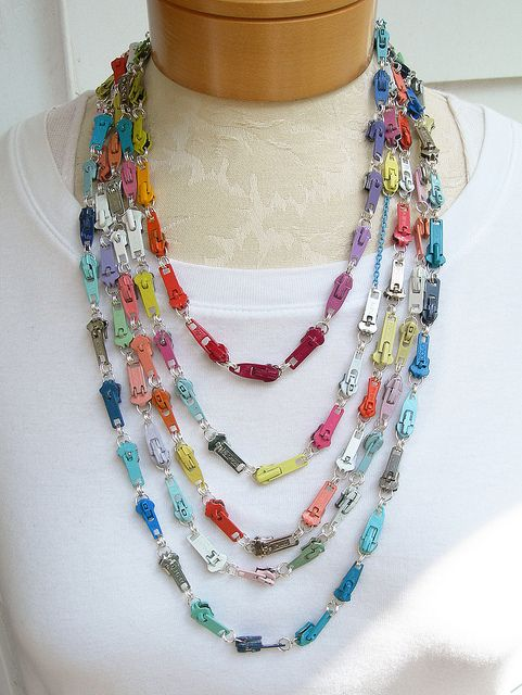 Zipper pull necklaces