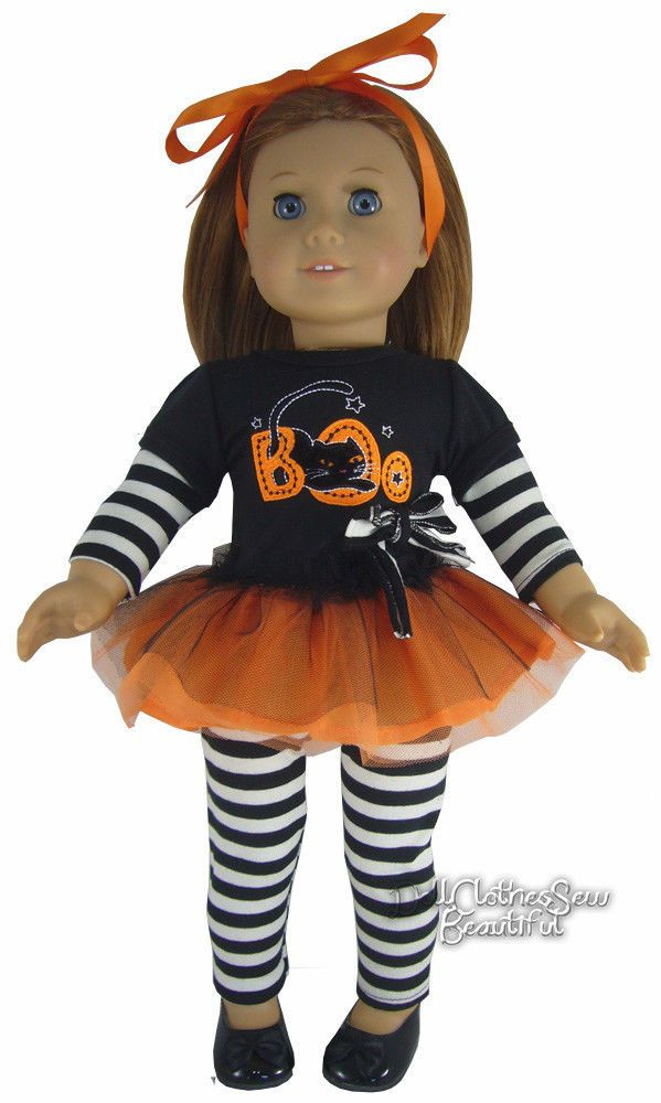"Black Cat Boo! Tutu Dress + Leggings Outfit for 18"" American Girl Doll Halloween #DollClothesSewBeautiful"