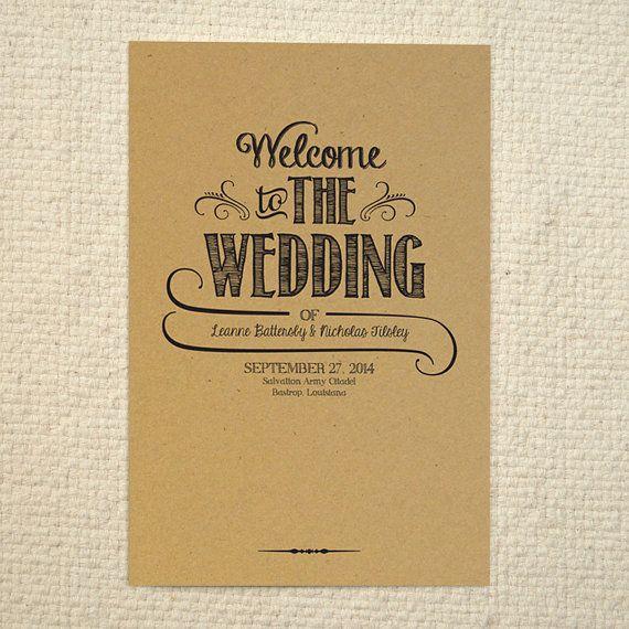 Diy Kraft Paper Wedding Program Order Of Service Handlettered Rustic Love Printable Pdf