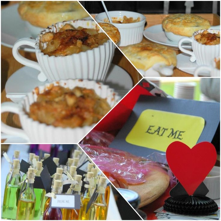 """Guests were served eats in teacups, signs like """"eat me"""" and """"drink me"""" were placed on the tables"""