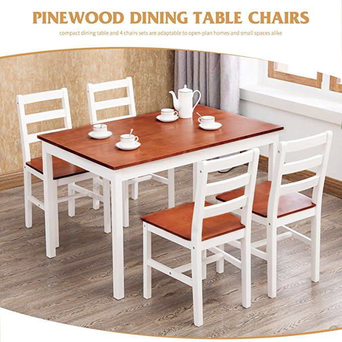 673ba2cdd34 UEnjoy Kitchen Dining Table and 4 Chairs Set
