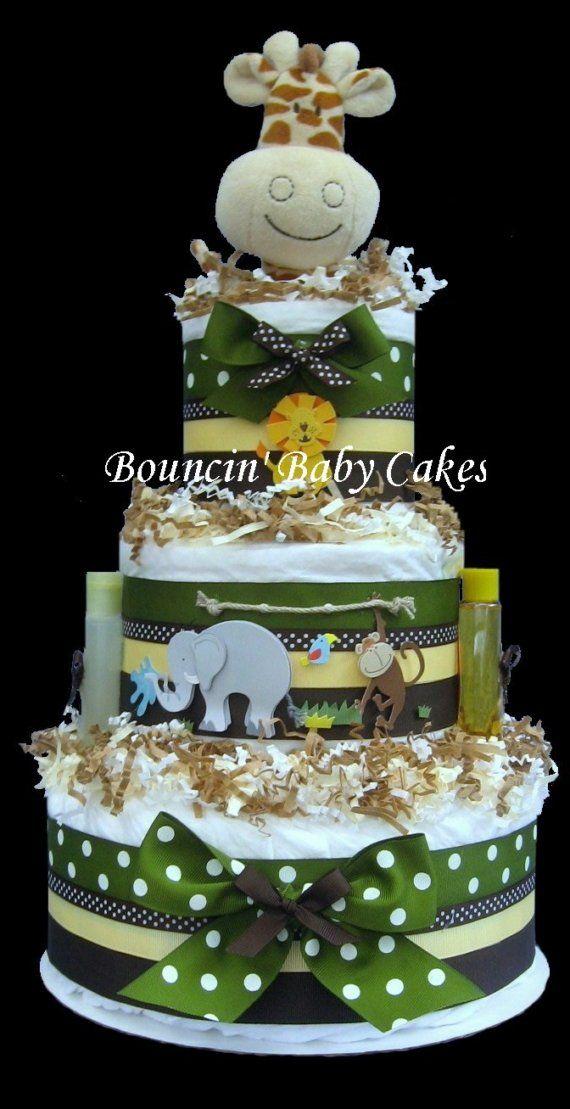 Zoo Crew Safari Jungle Baby Shower Diaper Cake Centerpiece
