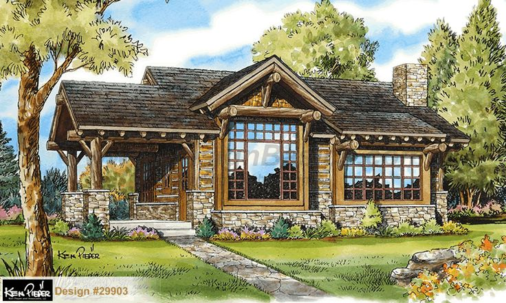 Cub Creek 29903 - Lodge / Cabin Home Plan at Design Basics