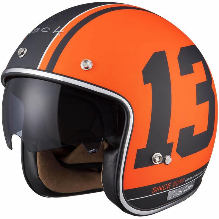 """Black Limited Edition """"13"""" Helmet, inspired by the 13 pool ball, this open face helmet is part of a limited run of 250 #helmets in this design and available in 3 colour choices including orange, black and white. #motorcyclehelmet #helmet #classic #vintage #13ball #pool #lucky13 #blacklimitededition #scooter #classicscooter"""