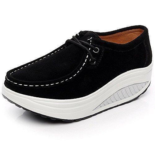 Oferta: 28.9€ Dto: -46%. Comprar Ofertas de Shenn Mujer Plataforma Cuña Aptitud Ambulante Negro Ante Cuero Entrenadores Zapatos 1061 EU39 barato. ¡Mira las ofertas!