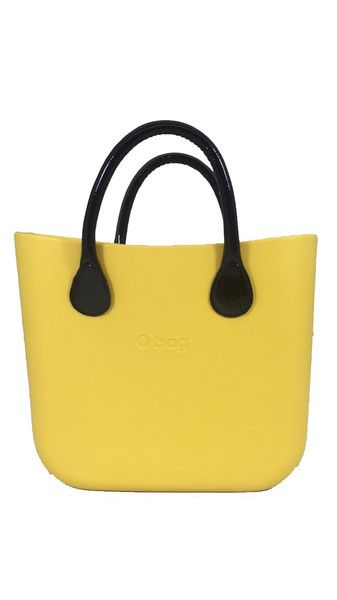 Yellow 50 O Bag Mini with Black Lacquered Short Handle