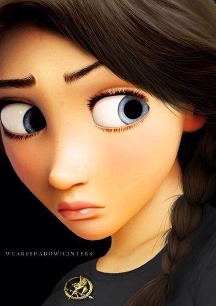 Rapunzel as Katniss<<< if I remember correctly Katniss does not have blue eyes