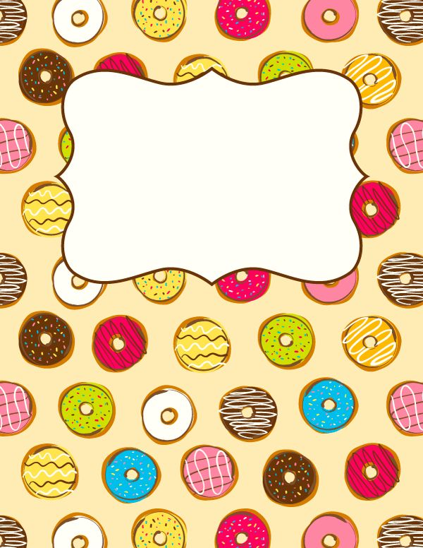 Free printable donut binder cover template. Download the cover in JPG or PDF format at http://bindercovers.net/download/donut-binder-cover/