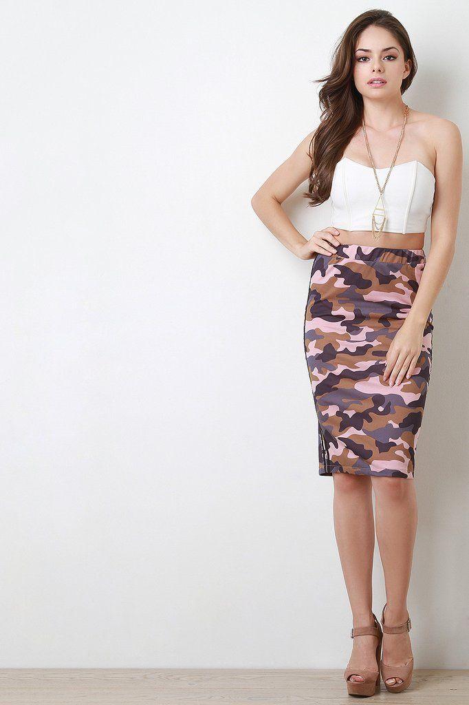 @modaonpoint Sporty Camo Print Pencil Skirt