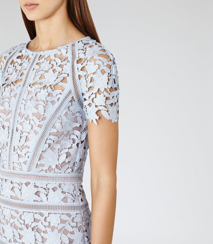Womens Blue Ice Lace Dress - Reiss Orchid