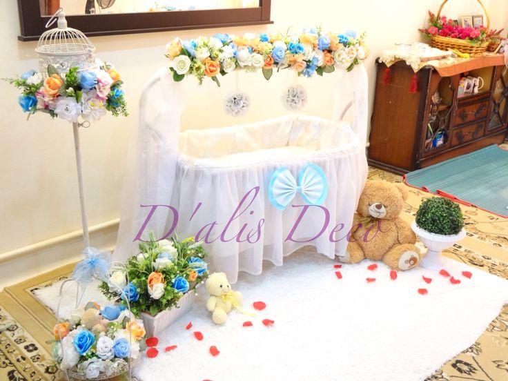 Pelamin buaian berendoi, cukur jambul, pakej aqiqah Mini Cradle Majlis di Kajang www.alisdeco.blogspot.com Alis 0123550657