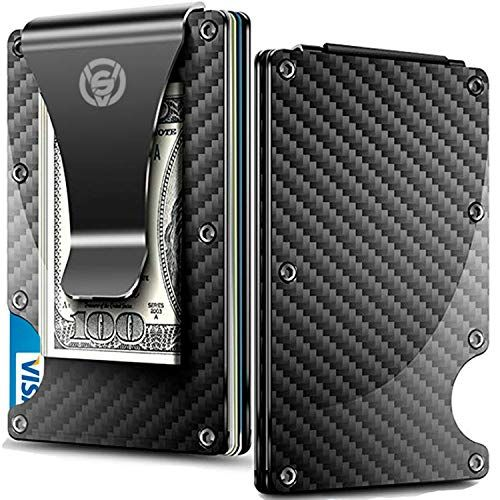 Carbon Fiber Money Clip Wallet – Aluminum Credit Card Wallet RFID – Mens Minimalist Slim Credit Card Holder – 2019 Upgraded Version