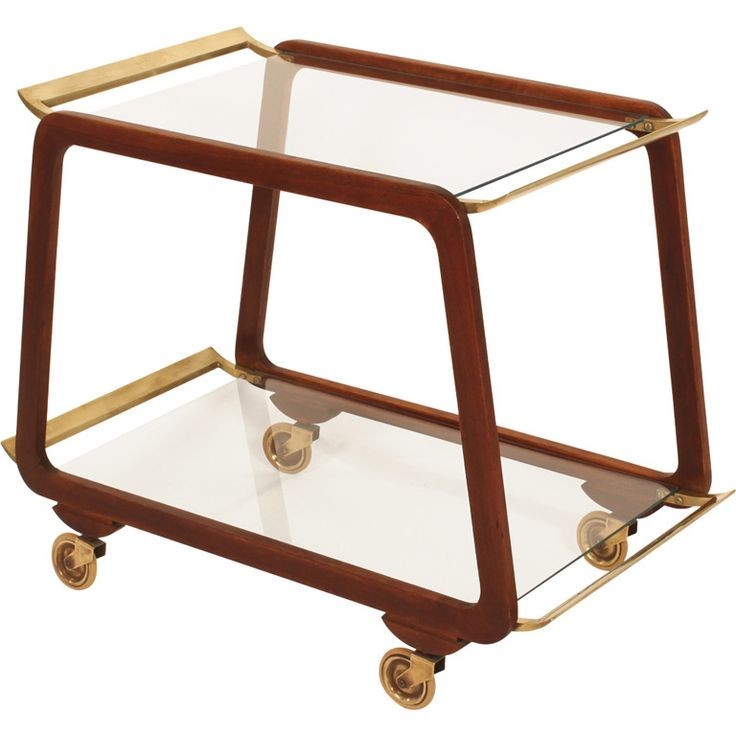 Austrian Mid Century Walnut and Brass Serving Trolley | From a unique collection of antique and modern bar carts at https://www.1stdibs.com/furniture/tables/bar-carts/
