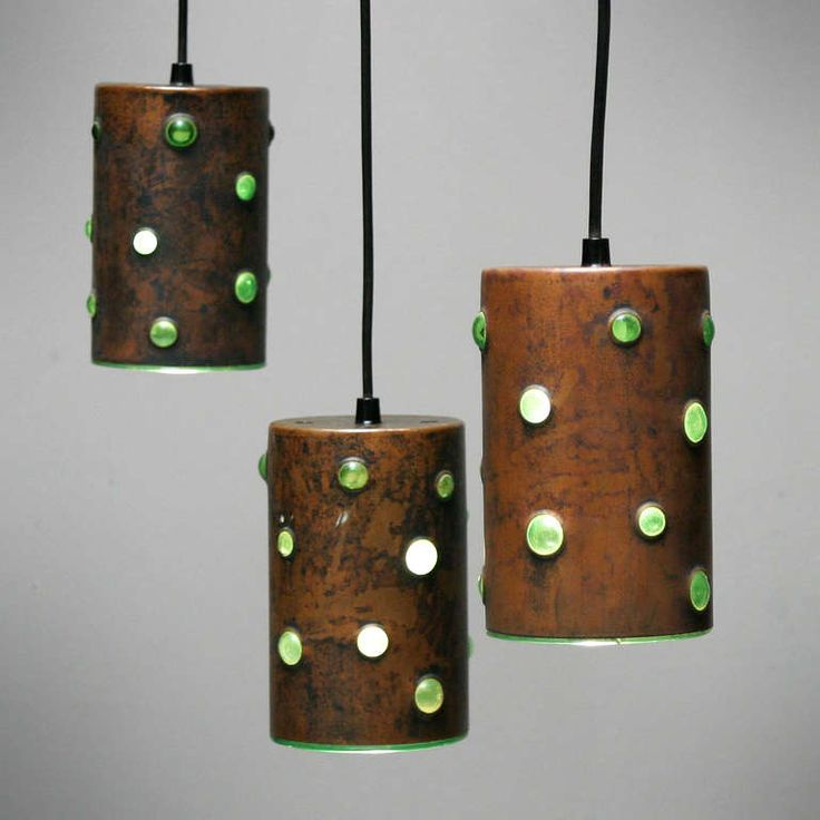 Nanny Still; patinated Copper and Glass Ceiling Lights for Raak, c1960.