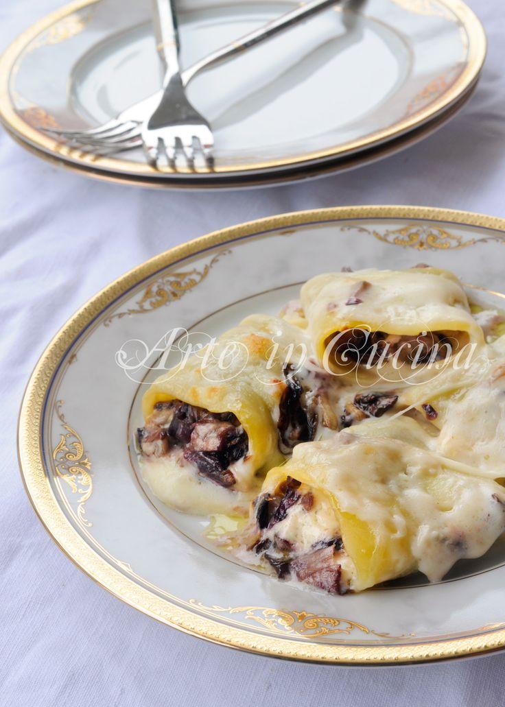 Paccheri radicchio e gorgonzola con besciamella vickyart arte in cucina