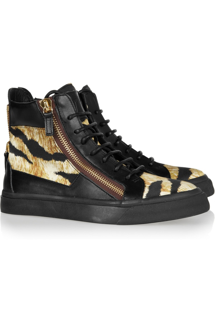 Giuseppe Zanotti|Tiger-print paneled leather sneakers|NET-A-PORTER.COM: Tigers Sneakers, Shoes, Panels Leather, High Tops Sneakers, Tigers Prints Panels, Giuseppe Zanotti, Zanotti Tigers Prints, Leather Sneakers, High Top Sneakers