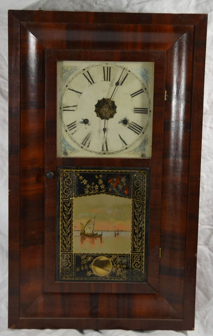 Am americana country wall clocks - Ogee Clock Jerome Chauncey Ct Nice Glass Missing Weights Pendulum