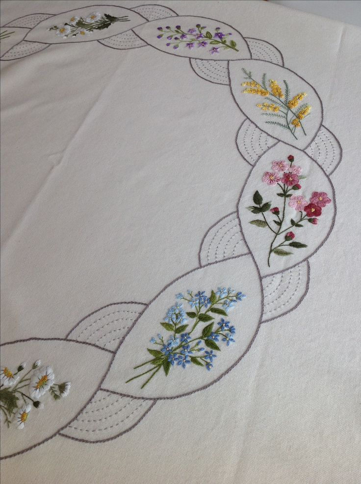 Hand embroidery on bedspread