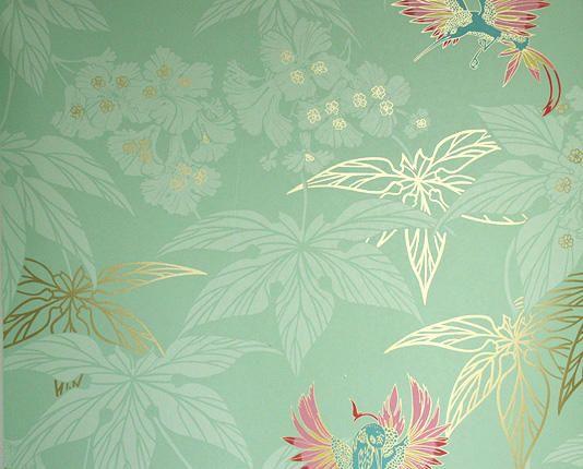 tienda online telas & papel   Papel pintado Grove Garden verde menta
